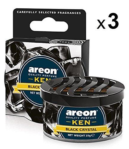 Areon Ken Ambientador Cristal Negro Coche Hogar Aire Casa Olor Lata Debajo Asiento Perfume Original 3D ( Black Crystal Pack de 3 )