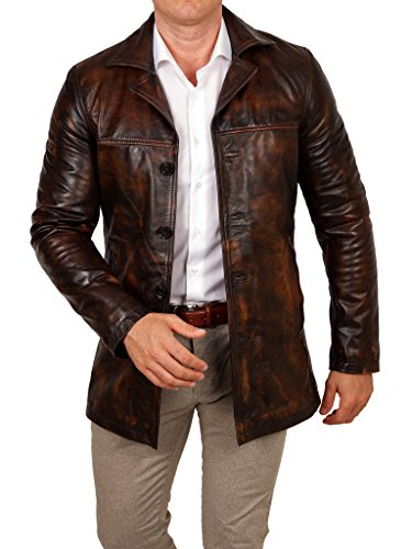lines by cris d. fedd Echte Herren Lederjacke aus Rindsleder, Regular Fit, Mantel Leather Jacket Coat, Größe XL, Cognac