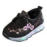 Doublehero Baby Mädchen und Jungen Kleinkind Mode Stern Leuchtendes Kind Bunte helle Schuhe Kinder Schuhe mit Licht LED Leuchtende Blinkende Turnschuhe für Kinder (25 EU, Schwarz2)
