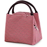 Shuban Thermal Insulated Stripe Lunch Tote Canvas Bag for Office School College Picnic Travel Snacks & Food (Red)
