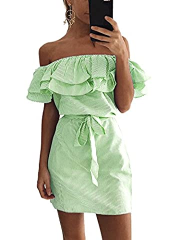 Minetom Damen Sommer Sexy Schulterfrei Ärmellos Volants Streifen Kurz Kleid Beiläufig Schlank Minikleid Partykleid mit Gürtel Grün DE 38