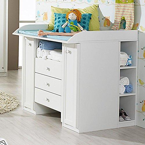 Wickelkommode Babyzimmer weiß Wickeltisch Babytisch inkl. Regal Babymöbel