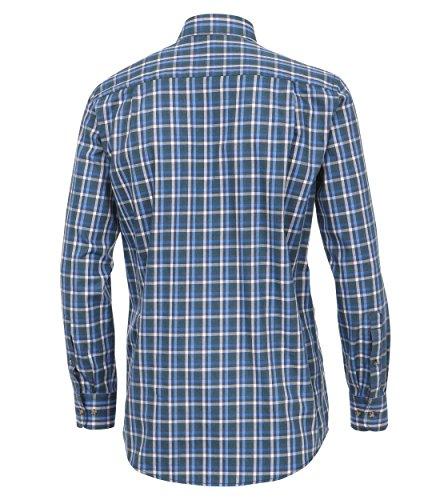 Michaelax-Fashion-Trade - Chemise business - À Carreaux - Col Boutonné - Manches Longues - Homme Blau (300)