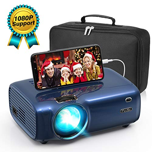 Mini Beamer für Heimkino 1080P Full HD unterstützt , Video Projektor mit Tragetasche 4500 Lumen LED 50000 Stunden Fußball Spiel Spaß Kompatibel mit HDMI/VGA/USB/AV Multimedia