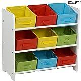 Multistore 2002 Kinder Aufbewahrungsregal mit 3 Ebenen und 9 Textilschubladen 65x30x60cm Spielzeugregal Kinderregal Standregal mit Boxen Körben Schubladen Spielzeugkiste Spielzeugbox