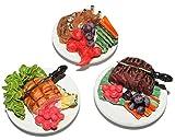 Unbekannt 3 tlg. Set: Hauptspeise Teller mit Fleisch Gericht u. Gemüse - Miniatur aus Holz / Maßstab 1:12 - Lebensmittel Zubehör Küche Puppenstube / Puppenhaus - Essen ..