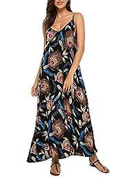 StyleDome Mujer Vestido Maxi Largo Fiesta Floral Sin Mangas Tirantes Cóctel Oficina Cuello Pico