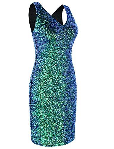 PrettyGuide Damen reizvoller tiefer V-Ausschnitt Pailletten Glitzer Bodycon Stretchy Minipartei-Kleid M Symphonie grün - 2
