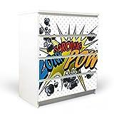 banjado YOURDEA Möbelfolie für Ikea Malm Kommode mit 4 Schubladen | Klebefolie 4-teilig ca. 80x100cm | Möbelsticker Selbstklebend mit Motiv Comic