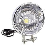 GOOFIT Chrome Motorrad Scheinwerfer der Lampe der Kopf der Licht Fernlicht mit eingebauter Kontroll Blinker-Backup für Das Moped ATV Cruiser Chopper