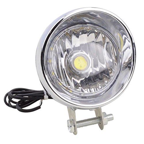 GOOFIT Chrome moto faro testa lampada integrata con indicatore luce di backup per motorino ATV Cruiser chopper