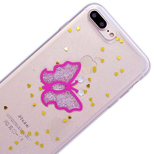 HB-Int Hülle für iPhone 7 Silikon Transparent Case Bling Glitter Schutzhülle mit Glänzend Pailletten Bumper Cover Durchsichtig Handytasche - Rosa Schmetterling