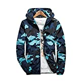 Rera Herren Frühling Dünne Camouflage Jacke Kapuzenjacke mit Reißverschluss Hoodie Casual Loose Übergangsjacke Sweatjacke