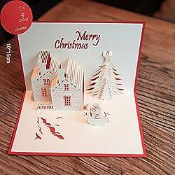 Papel spiritz hecho a mano en blanco 3d Pop Up Tarjeta de felicitación, diseño de postales de Navidad castillo con a juego con corte láser sorprendentemente perfecta decoración feliz Navidad regalos (rojo funda)