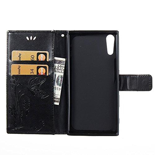Solid Color Faux Leder Bookstyle Brieftasche Stand Case mit geprägten Blumen & Lanyard & Card Slots für Sony Xperia XZ ( Color : Black ) Black