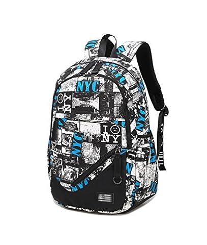 YoungSoul Grand sac à dos loisir hommes et femmes, Cartable sac a dos en toile pour voyage/scolaire/randonnée Bleu Blanc