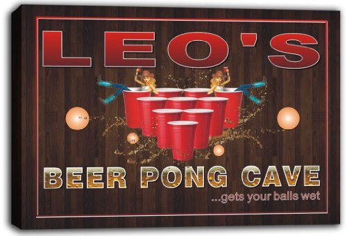 scqr1-0168-leos-beer-pong-cave-bar-game-stretched-canvas-print-sign