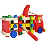 #9: Trinkets & More™ - Wooden Screw Car Vehicle | Reassembly Multifunction Building Blocks | Knock Hammer Ball Tinker Toy (36 Pieces) | Educational Toy Kids 3+Years