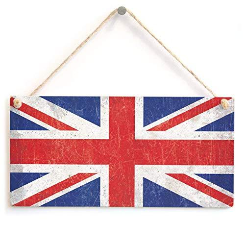 Cara King Union Jack British Flag Punk Grunge Xmas Wood Signs Design hängende Geschenk Dekor für Home Coffee House Bar 5 x 10 Zoll -