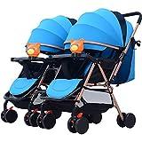 MMYYIP Gemello Passeggino Doppio Staccabile Luce bidirezionale può sedersi reclinabile Pieghevole Trolley Due nascite,B