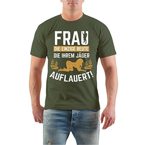 Männer und Herren T-Shirt FRAU Beute die ihrem Jäger auflauert Größe S - 8XL Olive