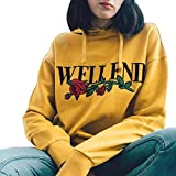Hoodie Pullover Young Damen Super Gelb Front Printed Blumenmuster Letter mit Rose Modisch Mantel Tops Kapuzenpullover (Asian S, Gelb)