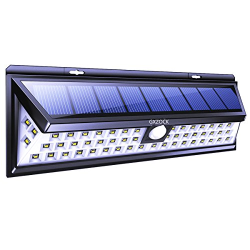 GXZOCK Solar Lights Outdoor 54 LED, Super Bright Wide Angle Solar Powered Light, Wireless Security Waterproof Wall Lights for Garage Patio Garden Driveway Yard RV