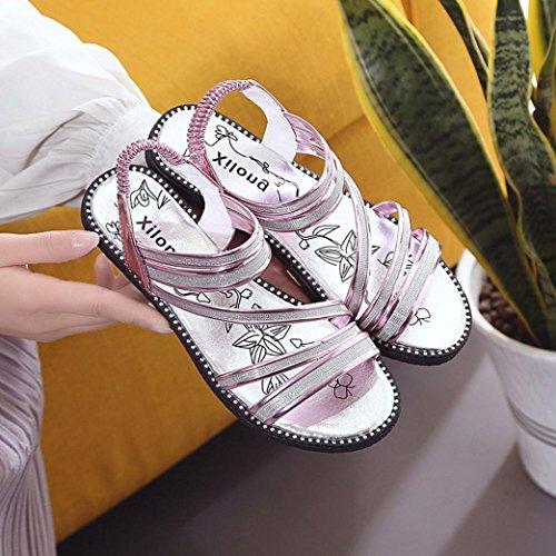 Omiky® Sommer Fashion Gladiator Sandale Frauen flache Schuhe Sandalen bequeme Schuhe Lila