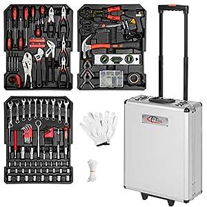 TecTake Maletín con herramientas 577pc piezas maleta trolley caja martillo alicates con 3 cajones