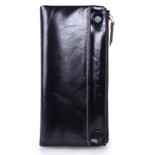 Yvonnelee Donne Della Signora Frizione Lungo Della Borse Borsa cuoio genuino Della Carta Portafoglio Leather Titolare Portamonete Nero