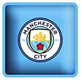 Manchester City FC Official Football Crest Square Cushion (One Size) (Sky Blue)
