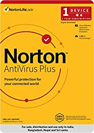 Norton Antivirus Plus | 1 User 1 Year |Includes Smart Firewall & Password Manager |PC or Mac |Code emailed