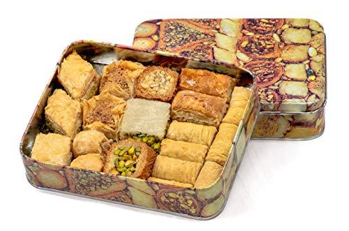 Baklava Baklawa Blechdose, Prime, 500 Gramm, Verschiedene Baklawa Mischungen einschließlich Pistazien Cashew Mandeln Walnuss Sorten - Pistazien-cashew