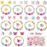 PowerKing Braccialetto per Bambini e Orecchini su Orecchini, 10 Set Braccialetti per Bambini e Bambine con Perline Set con Anelli a Forma di Farfalla per Vestire