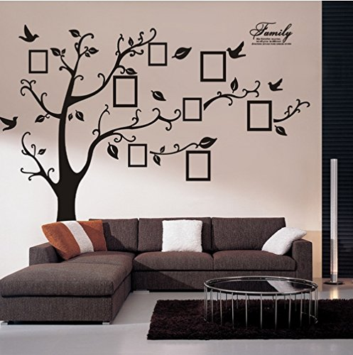 Large Black Memory Tree with Photo Frame, Living Room Bedroom Vinyl Removable Wall Sticker Wall Decal (Black(Left To Right)) by Rainbow Fox
