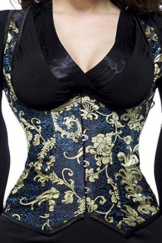 Blau goldene Damen Dessous Brokat Unterbrust Corsage mit floraler Musterung zum Schnüren mit Stützstäbe Blau/Gold