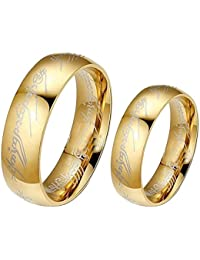 Sorella'z Golden Lord of the Rings Couple Ring Set for Men and Women