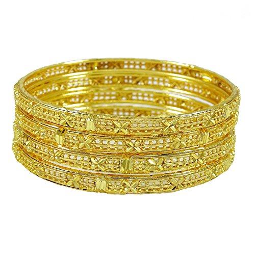 Banithani 18K Gold Überzogene Ethnischen Traditionellen Armbandsatz Bollywood Schmuck Geschenk Für Sie 2 * 4