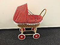Rattan Korb Nostalgie Kinder Puppenwagen Holzpuppenwagen Spielzeug Holz Weide inkl.Decke Kissen