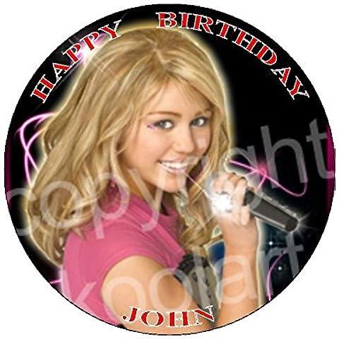 """Hannah Montana Koolart (MI138) 7,5""""cerchio glassa topper per torta personalizzabile con qualsiasi nome, età o messaggio–Utilizzare il messaggio di auguri Box solo per il messaggio per la torta Topper quando Check Me Out o e-mail con la Mes"""