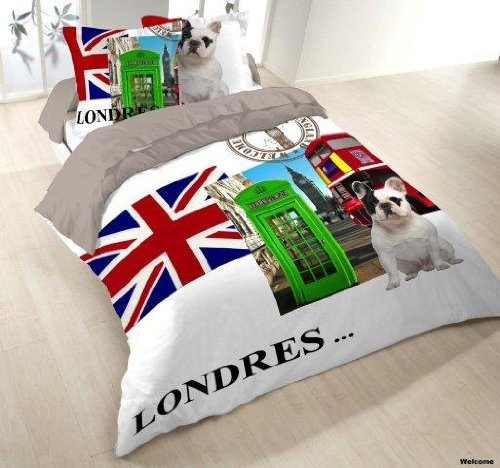 Housse de couette WELCOME to LONDON Londres 200x200+2 Taies Coton