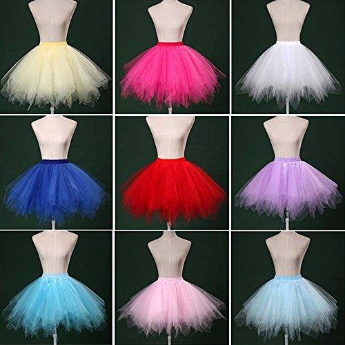 VKStar® Retro Damen Kurz Rock Ballett Einheitsgröße Vintage petticoat 50er Unterrock Reifrock Mehrfarbige Unterröcke Grün