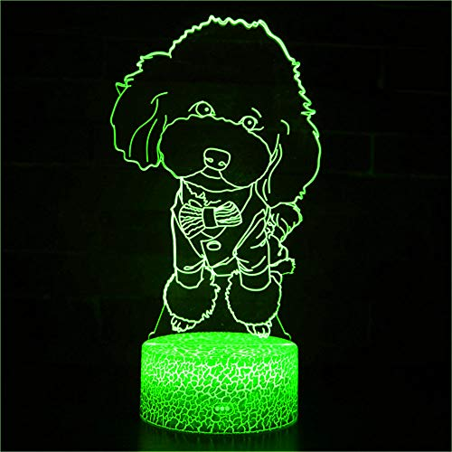 3D Hund Pudel Optische Illusions Lampe 7 Farben Touch-Schalter Illusion Nachtlicht Für Schlafzimmer Home Decoration Hochzeit Geburtstag Weihnachten Valentine Geschenk