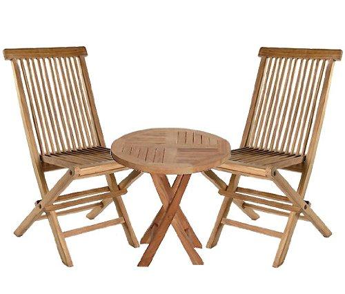 Lot 3 Set de 2 chaises pliantes et une table pliable Set de balcon jardin teck bois naturel