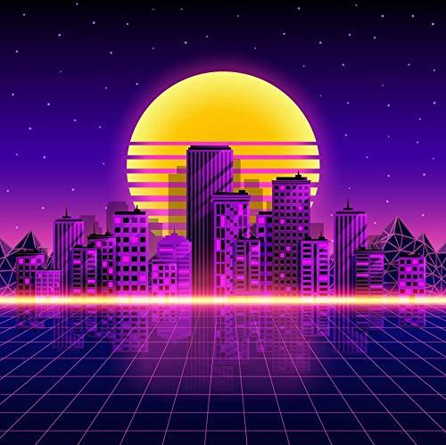 Hintergrund im Stil der 80er Jahre City Retro-Neon-Stil für Fotostudio Futuristische 3D Cyber-Landschaft Fotografie Booth Hintergrund