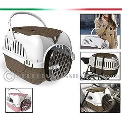 TRASPORTINO da auto e bicicletta per cani gatti conigli con ciotola doppia in OMAGGIO 100% MADE IN ITALY (ROSA)