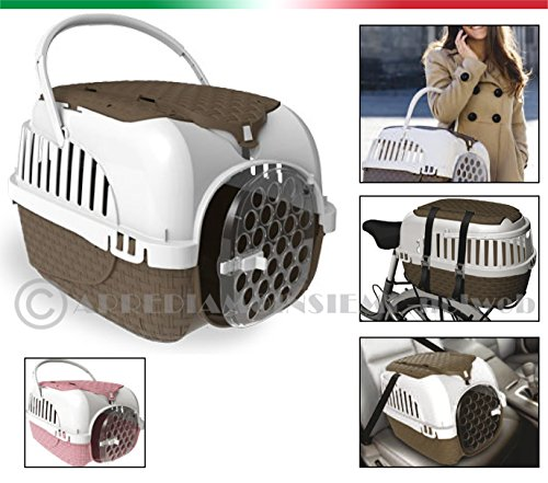 Bama Transport-Box, Fahrrad/Auto, für Hunde, Katzen und Hasen, mit doppeltem Napf rosa 53x33x34h