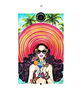 Hawaiin Girl Wearing A Big Beach Hat Drinking A MOCKTAIL Standing ON A Beach 3D Hard Polycarbonate Designer Back Case Cover for Motorola Google Nexus 6 :: Google Nexus 6
