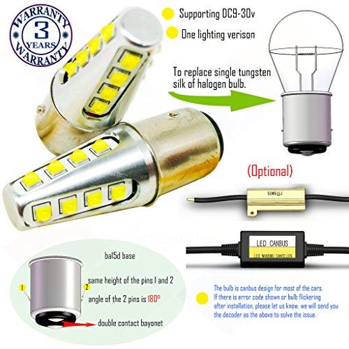 Preisvergleich Produktbild Wiseshine 3000k ba15d led birne lampen DC9-30v 3 Jahre Qualitätssicherung (2 Stück) ba15d 16 led HP warmweiß
