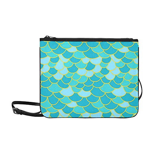 JEOLVP Fischschuppe Abstrakte Nahtlose Geometrische Muster Benutzerdefinierte hochwertige Nylon Schlanke Handtasche Umhängetasche Umhängetasche
